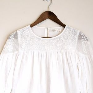 Zara Girls White Lace Long Sleeve Top